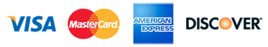 we proudly accept visa, mastercard, american express, discover